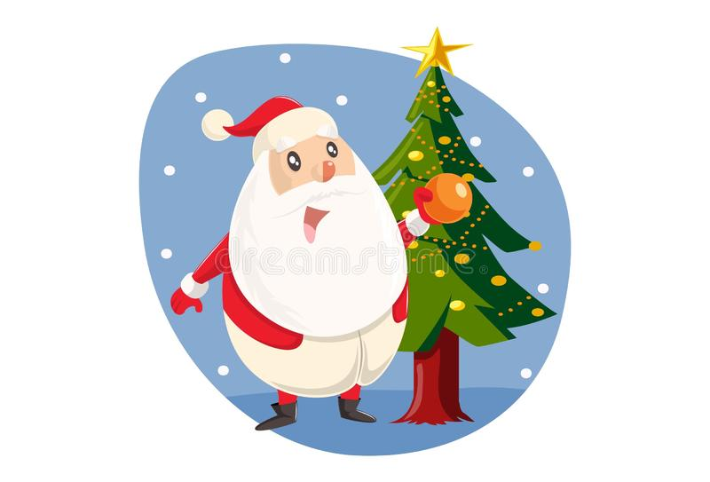 Vector Cartoon Illustration Of Cute Santa Claus stock illustration