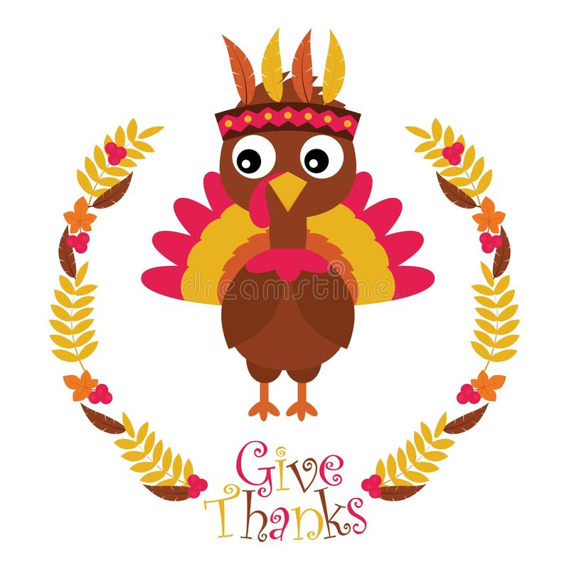 Cute turkey in maple leaves wreath suitable for happy thanksgiving card stock illustration