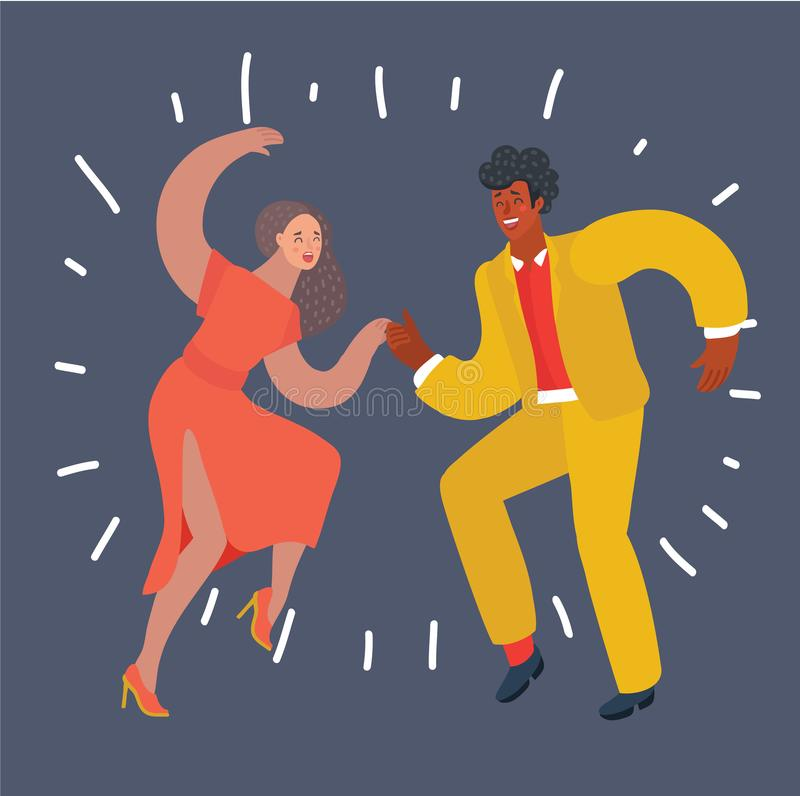 Dancer couple swing, bebop. Vector cartoon illustration of dancing swing couple. White woman and black man. Modern human characters on dark background stock illustration