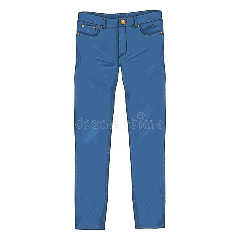 Free Vector Cartoon Illustration - Denim Jeans Pants. Front View. Royalty Free Stock Images - 124274439