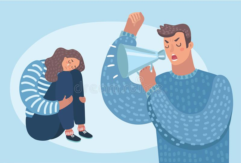 Family problems, pressure at work. Psychological abuse. Vector cartoon illustration of despaired woman hug shes knee and cry when sitting on the floor angry man vector illustration