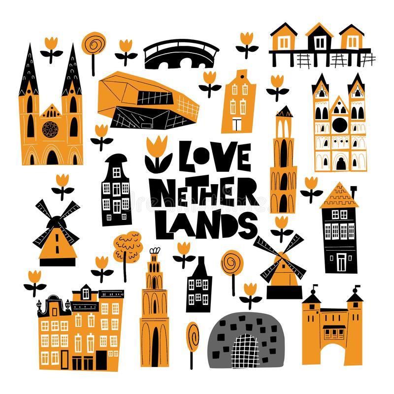 Vector cartoon illustration of different holland attractions and landmarks. Vector cartoon illustration of different holland attractions and landmarks vector illustration