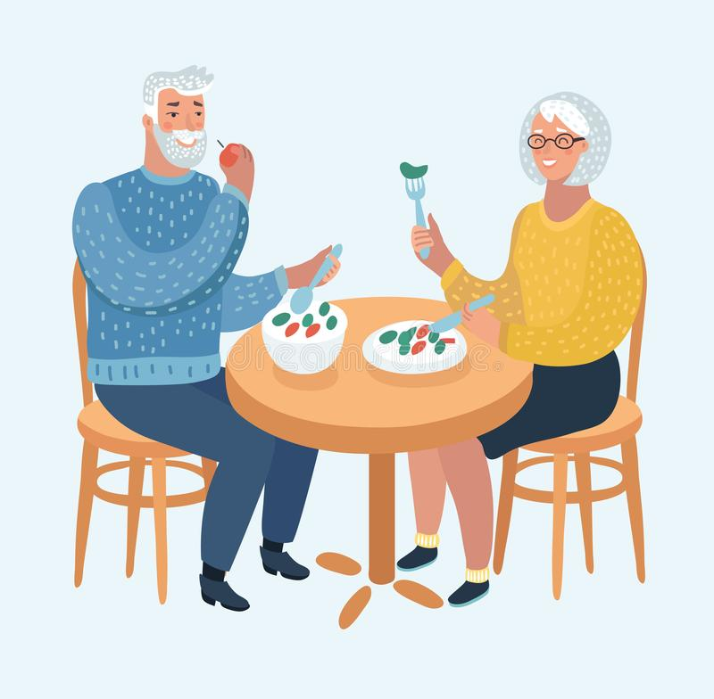 Elderly Couple Eating at a Fine Dining Restaurant. Vector cartoon illustration of an Elderly Couple Eating at a Fine Dining Restaurant or cafe. Human characters royalty free illustration