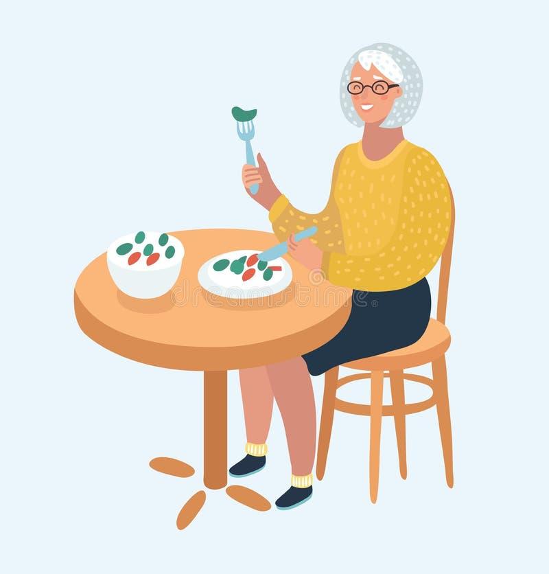 Elderly women who eat royalty free illustration