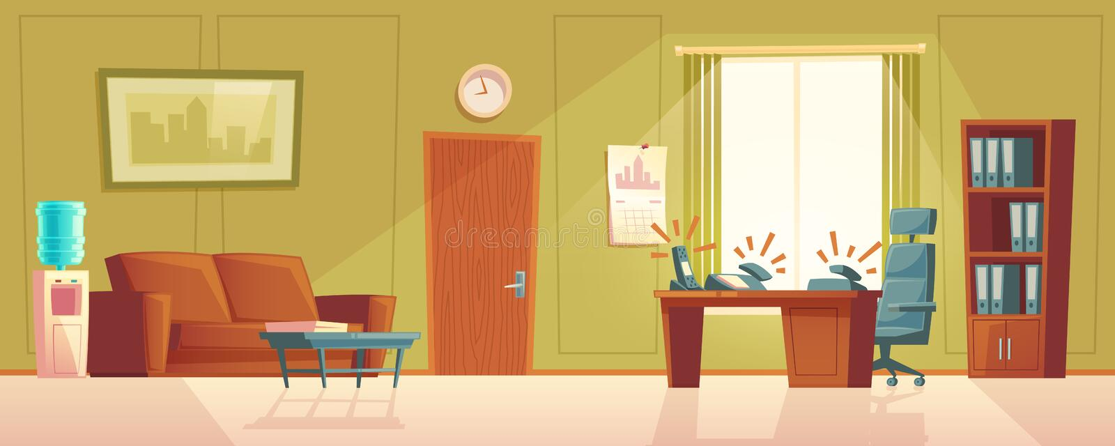 Vector cartoon empty office with ringing phone, lobby. Vector cartoon illustration of empty office with ringing phone, reception desk. Modern interior of foyer stock illustration