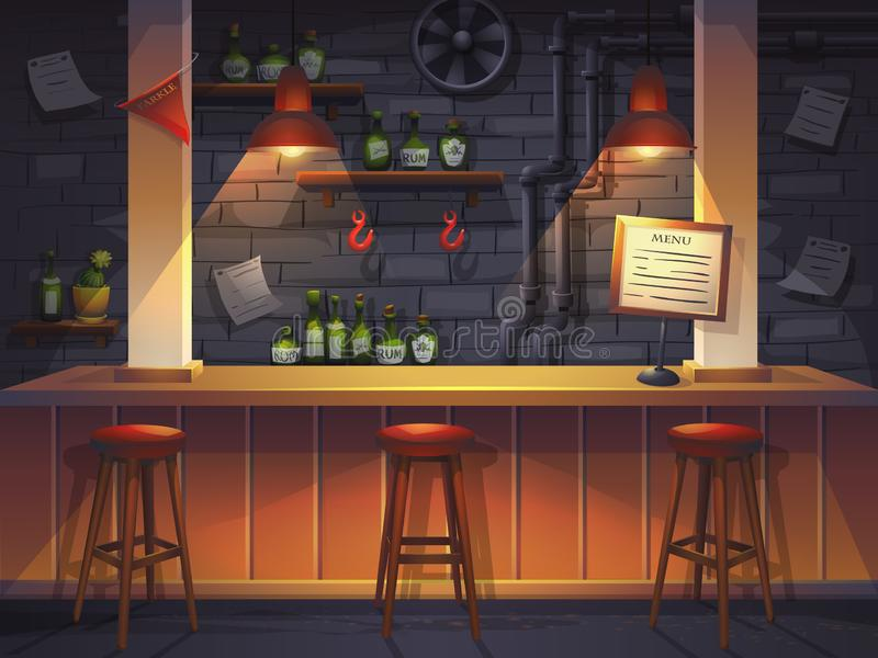 Vector cartoon illustration of empty saloon stock illustration