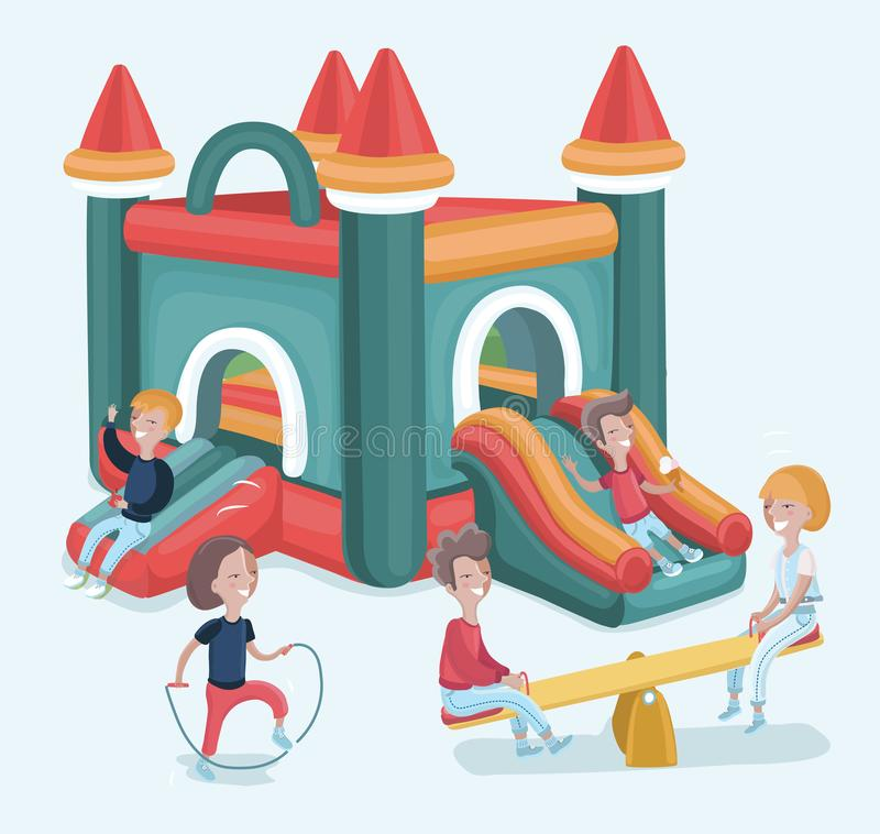 Excited kids having fun on inflatable attraction playground stock illustration