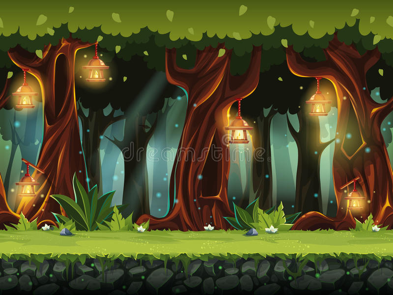 Vector cartoon illustration of the fairy forest. For the game UI. . For print, create videos or web graphic design, user interface, card, poster