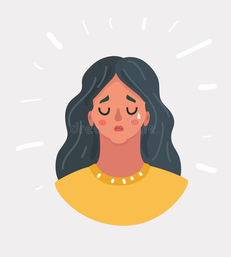 Girl in desperate crying. stock images