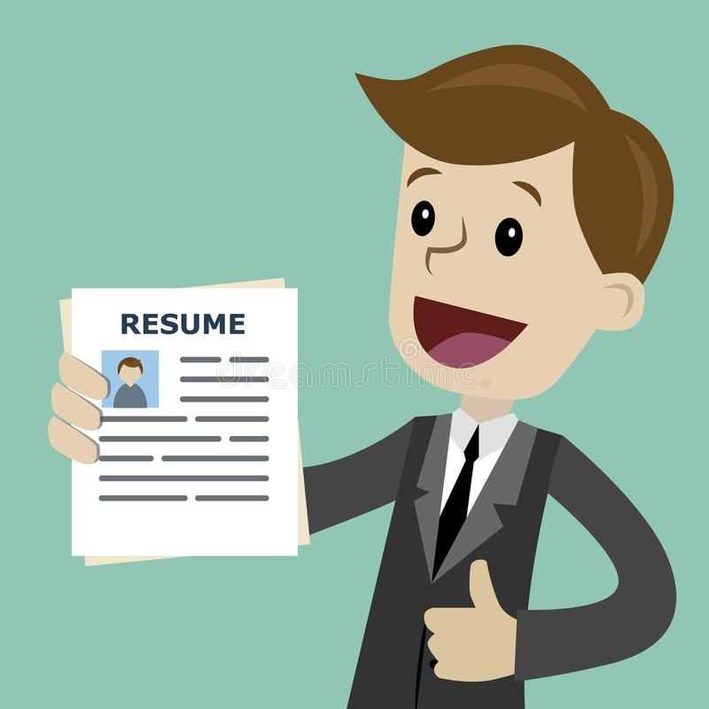 businessman or manager in the suit holding resume for job hiring