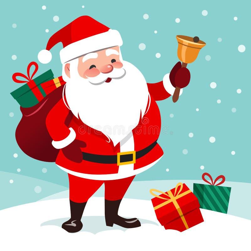 Vector cartoon illustration of friendly smiling Santa Claus rin vector illustration