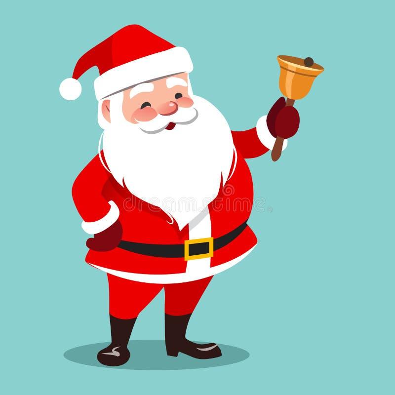 Vector cartoon illustration of friendly smiling standing Santa C royalty free illustration