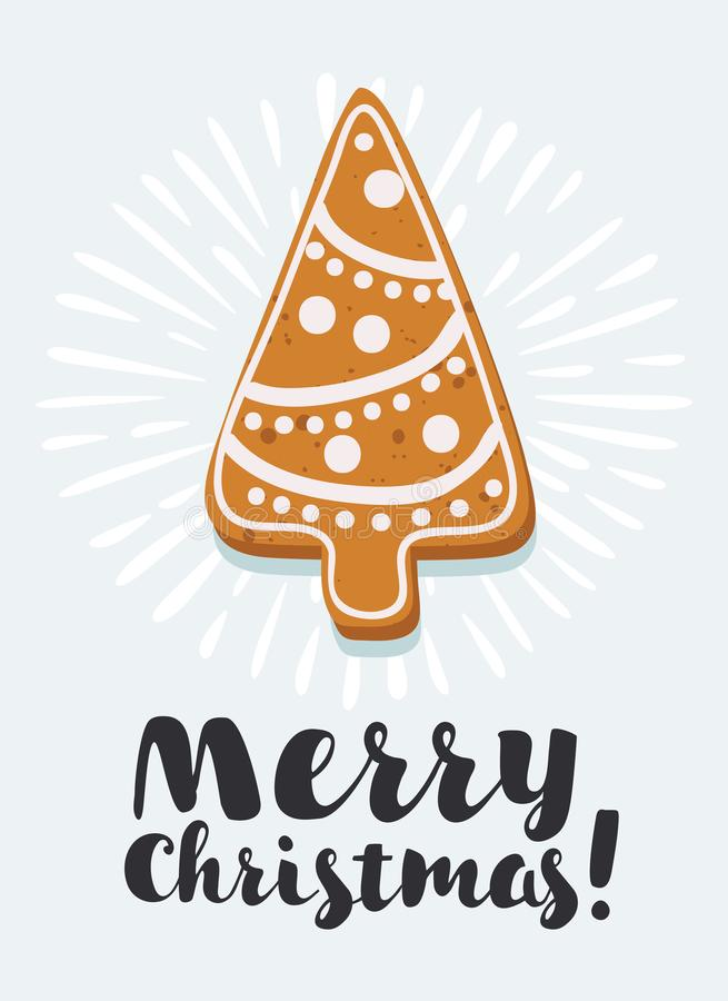 Gingerbread Christmas tree. Vector cartoon illustration of gingerbread cookies Christmas tree shape Collection of homemade holiday cookies. New Year bakery. Hand royalty free illustration