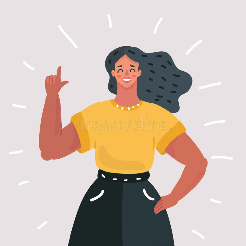 Young woman with index finger. Vector cartoon illustration of girl or young woman with index finger up royalty free illustration