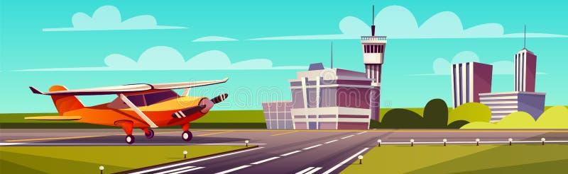 Vector cartoon illustration, gray airliner on runway royalty free illustration