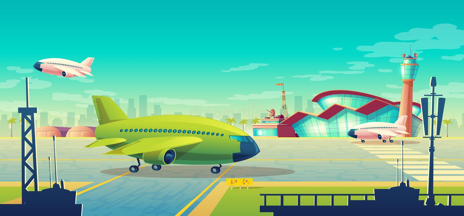 Vector cartoon illustration, green airliner on runway. Vector cartoon illustration, green airliner, jet on runway. Takeoff or landing of commercial airplanes royalty free illustration
