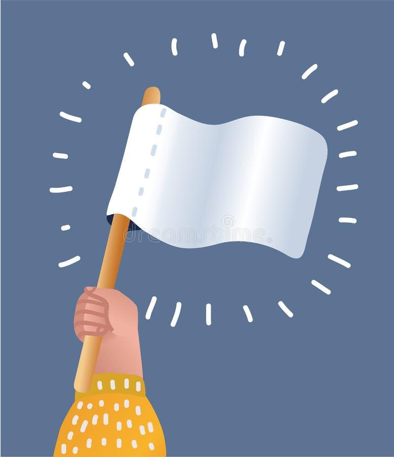 White flag of surrender. Hand holding blank flag. Vector cartoon illustration of hand holds white flag of surrender. Hand holding blank flag. Surrender concept vector illustration