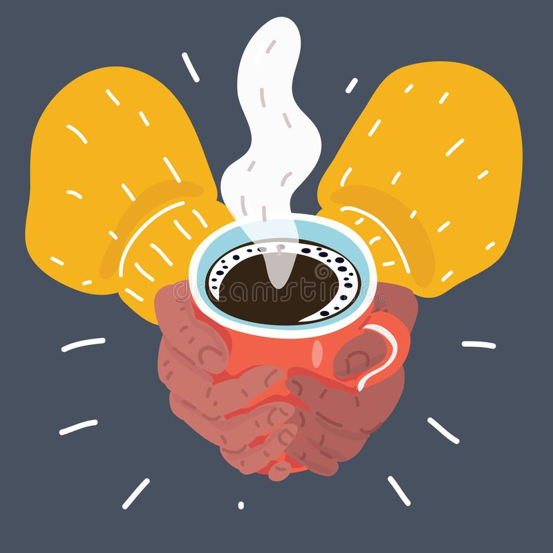 Hands holding a cup of coffee. Vector cartoon illustration of hands holding a cup of coffee with foam on dark background vector illustration