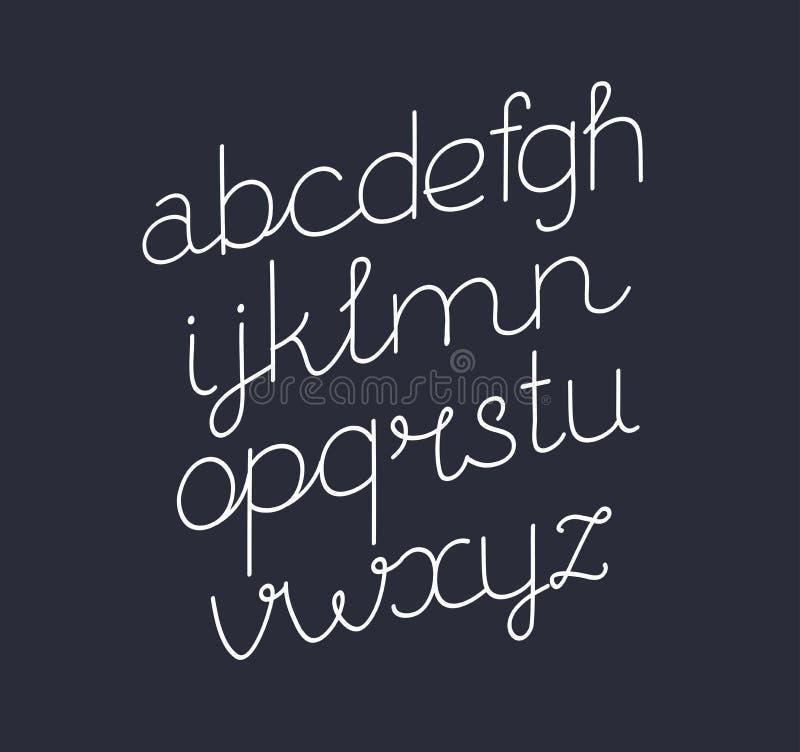 Handwritten Script font. Vector cartoon illustration of handwritten Script font. Thin line style modern calligraphy cursive typeface. Italic, slanted font on royalty free illustration