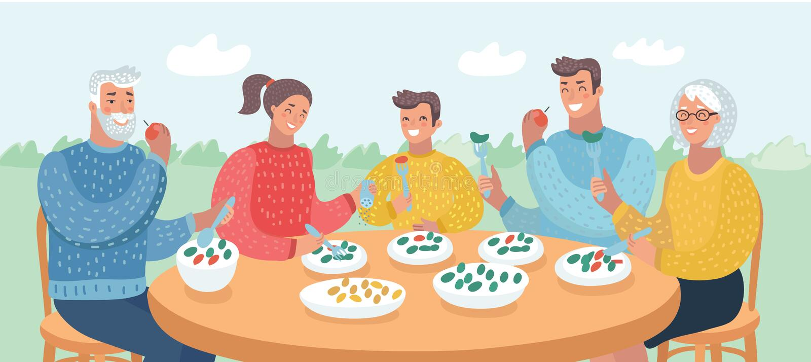 Happy big family eating dinner together. Vector cartoon illustration of Happy big family eating dinner together at table. Close up view of Human characters in stock illustration