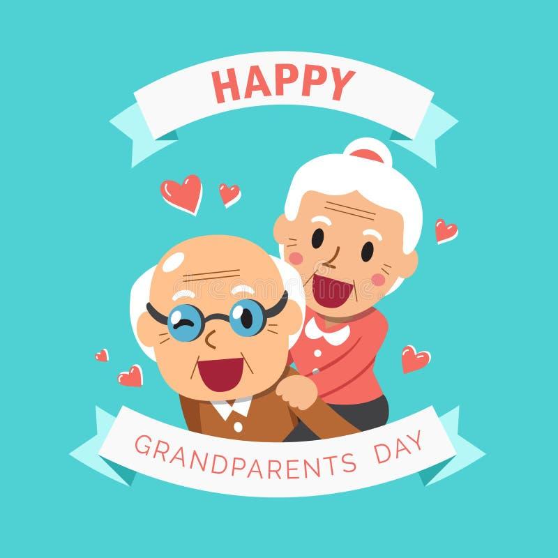 Vector cartoon illustration of happy grandpa and grandma grandparents day vector illustration