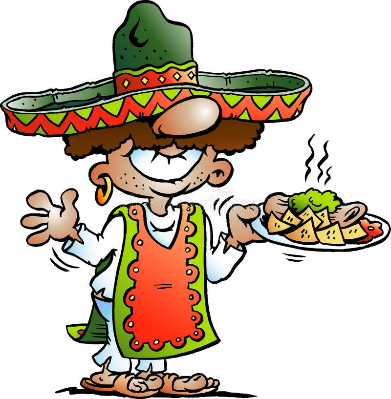 Vector Cartoon illustration of a Happy Mexican standing with some Tarco Food royalty free illustration
