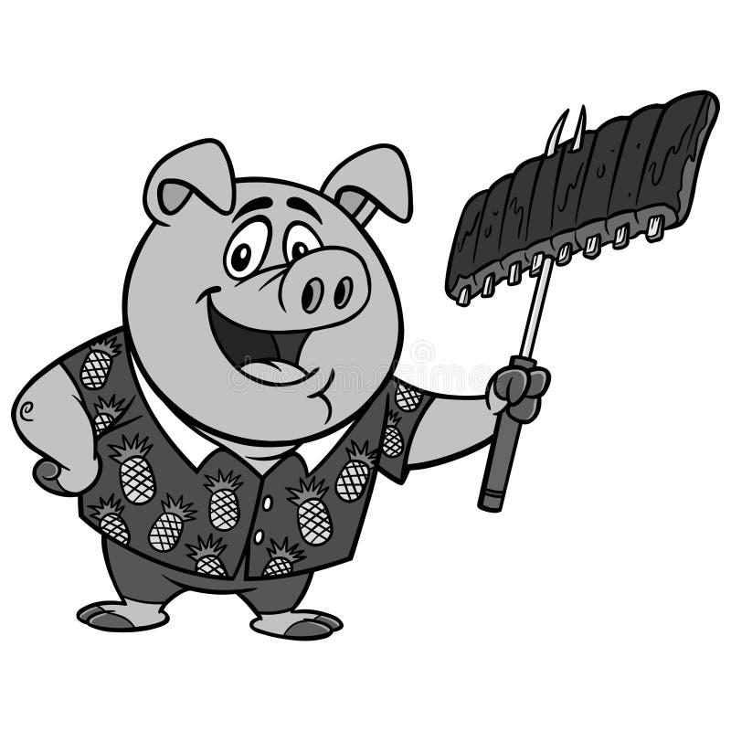 Hawaiian BBQ Illustration. A vector cartoon illustration of a Hawaiian BBQ Pig mascot vector illustration