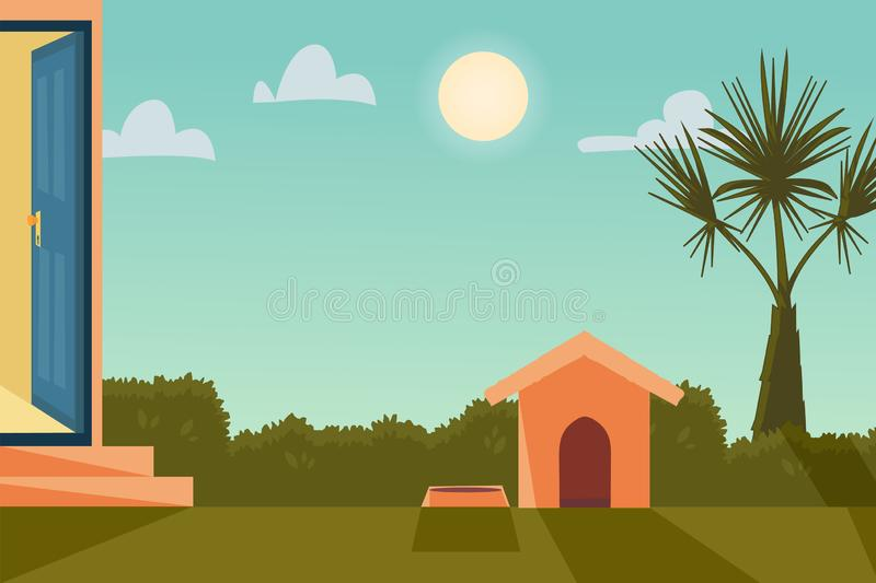 Vector cartoon illustration home outside concept with open entrance door. Background with house garden in sunny weather with bush vector illustration