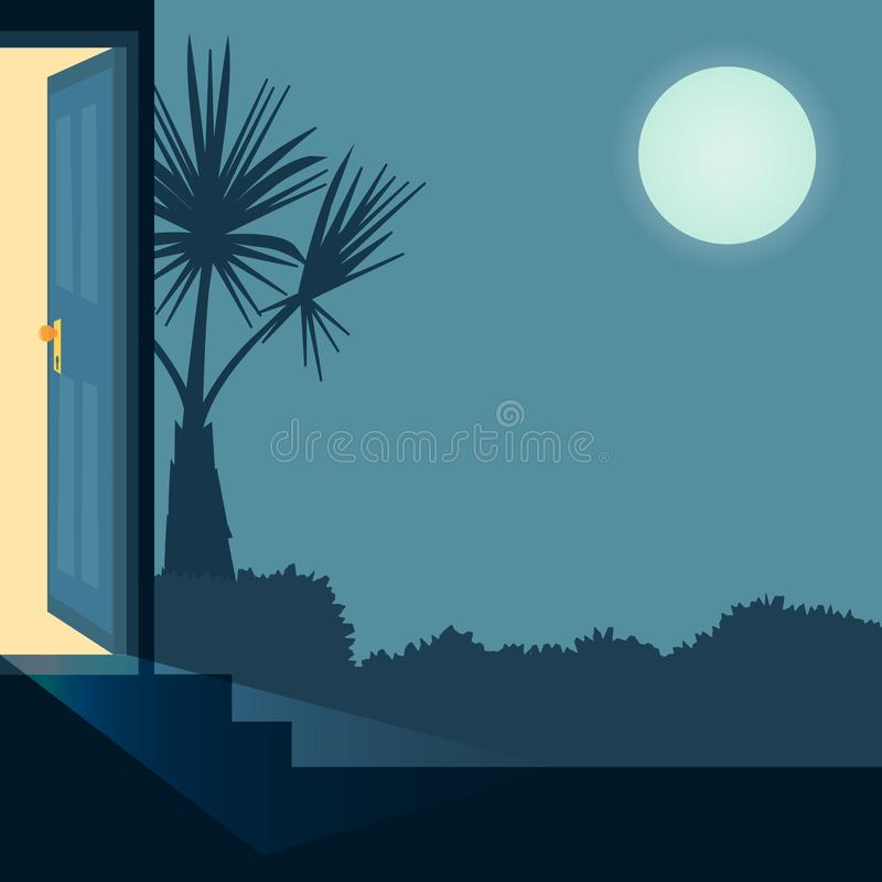 Vector cartoon illustration home outside concept with open entrance door late at night. Background with house garden stock illustration