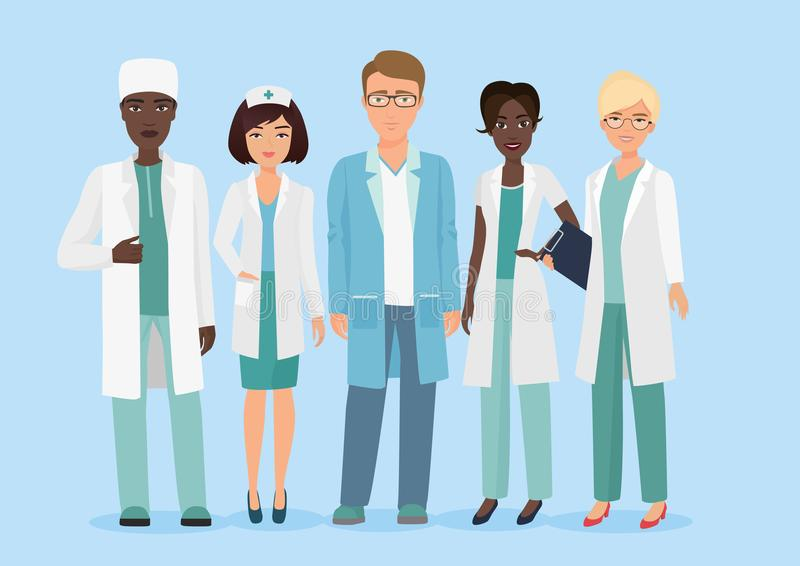 Vector Cartoon illustration of Hospital medical staff team, doctors and nurses characters. Medical concept. Vector Cartoon illustration of Hospital medical royalty free illustration