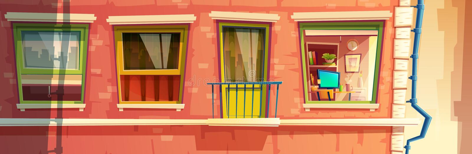 Vector illustration of house facade element. Vector cartoon illustration of house facade element, multistoried building, city apartments, outside wall with royalty free illustration