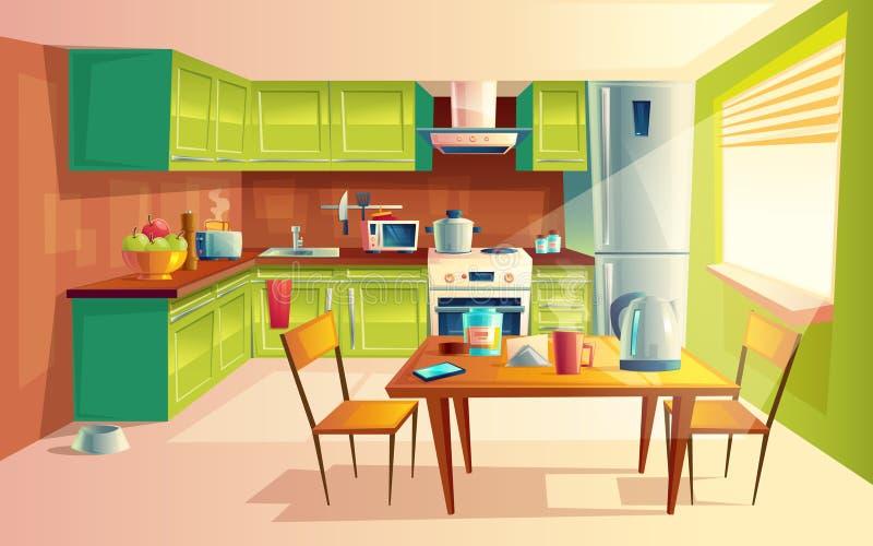 Vector cartoon illustration of kitchen interior stock illustration