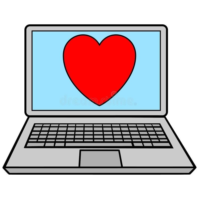 Laptop with Heart vector illustration