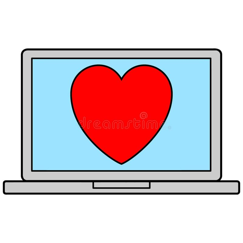 Laptop Icon with Heart royalty free illustration
