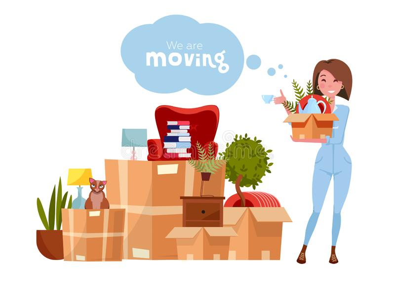 Vector cartoon illustration of loader mover woman in uniform carrying box. Pile of stacked cardboard boxes with stuff. Concept for royalty free illustration
