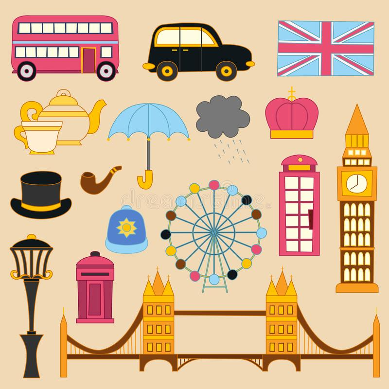 Vector London flat cartoon icons isolated on background royalty free stock image