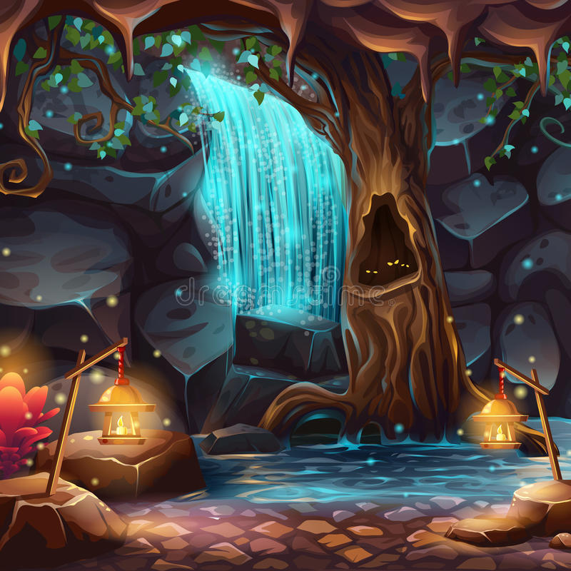 Vector cartoon illustration of a magical waterfall stock illustration