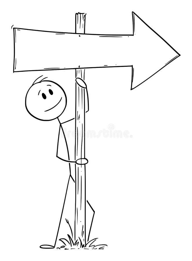 Vector Cartoon Illustration of Man or Businessman leaning Towards Old Wooden Directional Arrow Signpost stock illustration