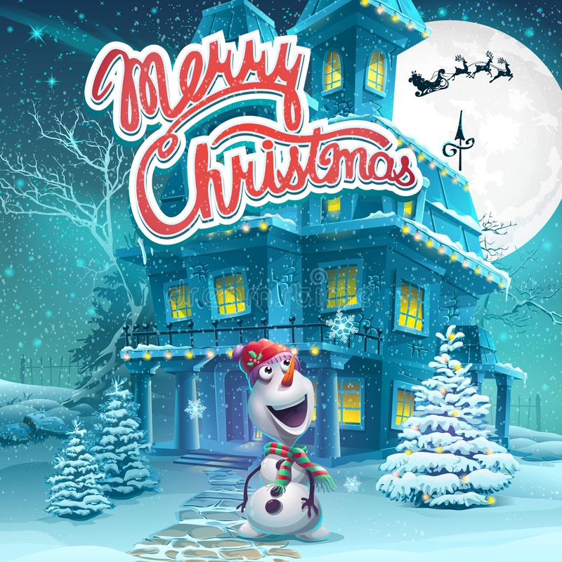 Vector cartoon illustration Marry Christmas background. Bright image to create original video or web games, graphic design, screen. Savers vector illustration