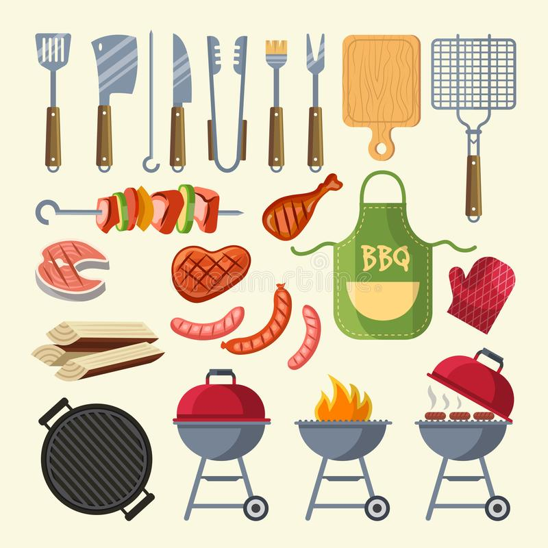 Vector cartoon illustration of meat, sauce, grill and other elements for bbq party. Grill barbecue food, meat bbq, steak grilled vector illustration