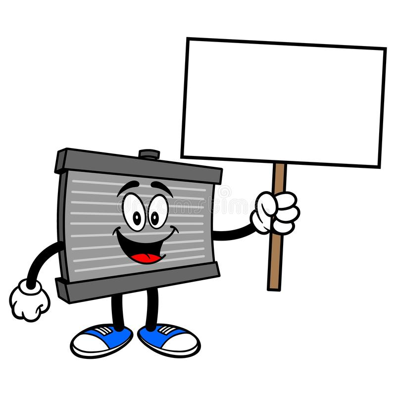 Radiator Mascot with a Sign. A vector cartoon illustration of a motor radiator mascot holding a blank Sign vector illustration