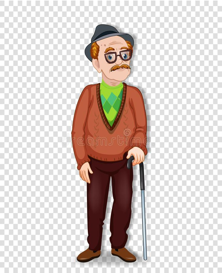 Elderly full length man with glasses and walking cane stock illustration