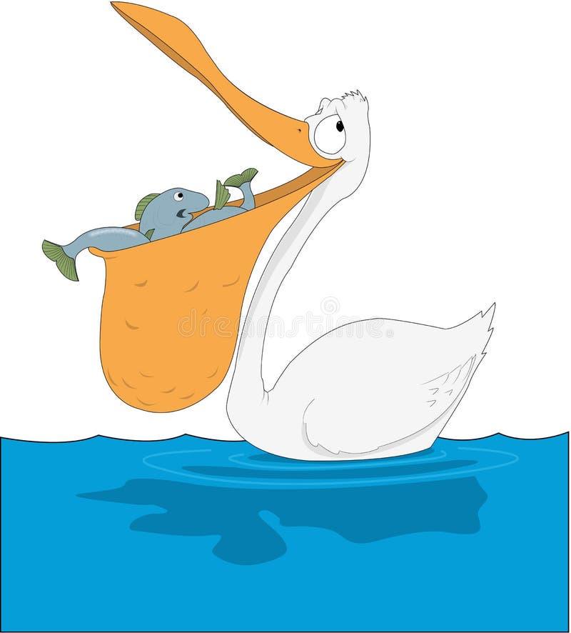Pelican with Fish in Beak Cartoon Illustration. A vector cartoon illustration of a pelican with fish in beak royalty free illustration