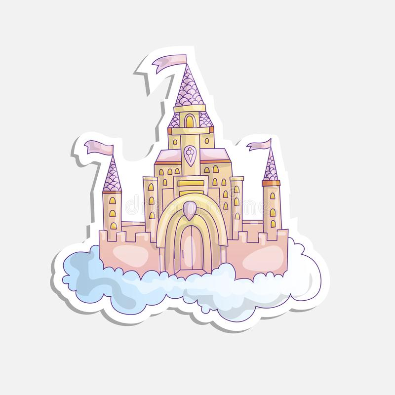 Vector cartoon illustration of pink princess magic castle in clouds. pink princess magic castle in blue clouds, with. Flags and torrets, pastel pink color. Cute royalty free illustration
