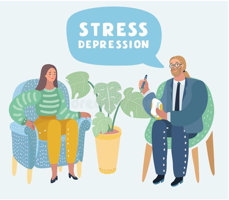 Psychotherapy. Society psychiatry concept. stock illustration