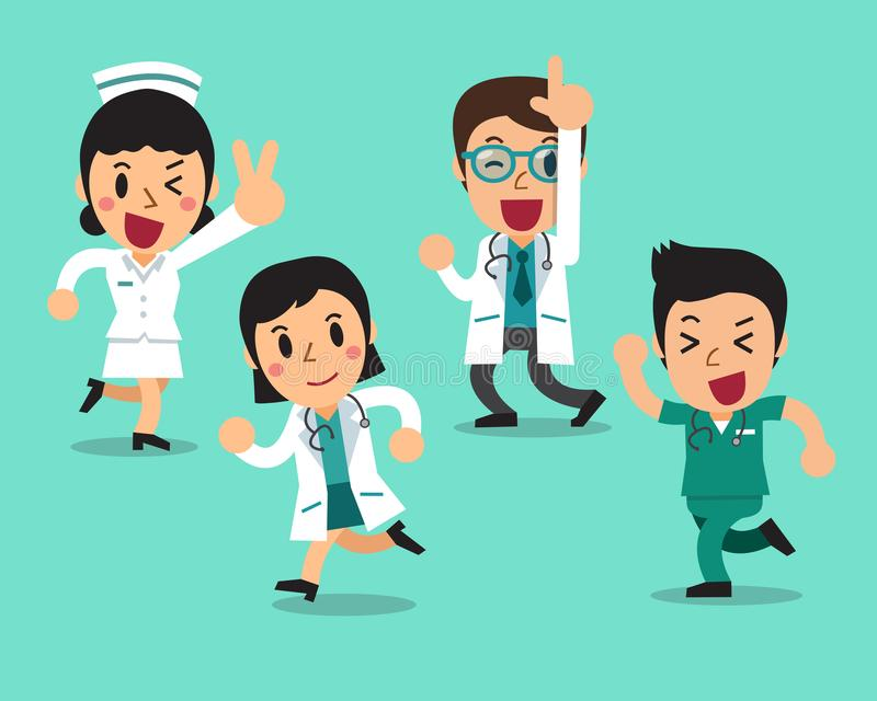 Vector cartoon illustration set of character doctors and nurses. For design royalty free illustration