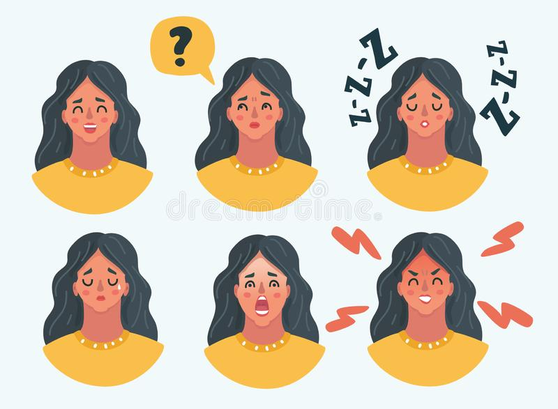 Set of girl woman facial emotions. Vector cartoon illustration of Set of girl woman facial emotions. Different female emotions set. Woman emoji character with vector illustration