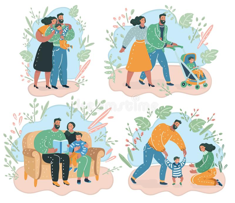 Set of happy family. stock illustration