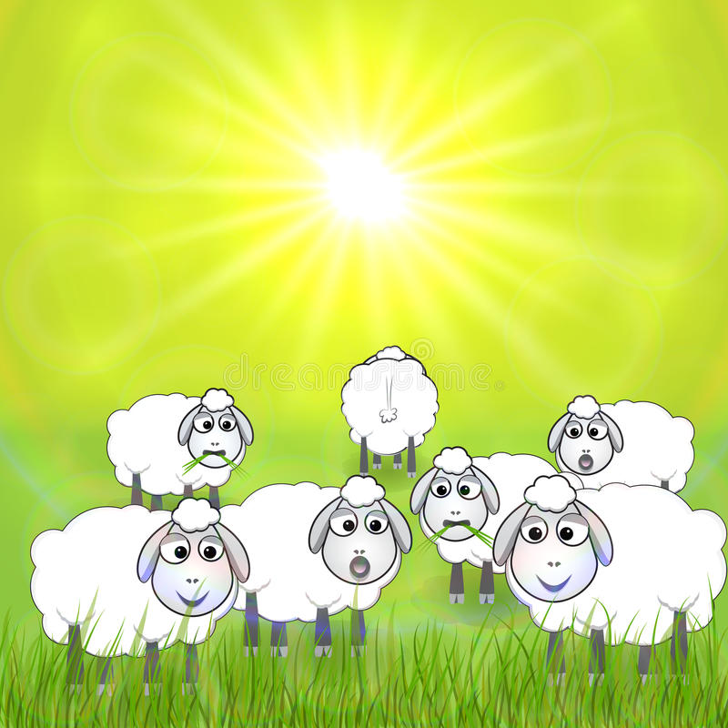Vector Cartoon Illustration Of Sheep In The Meadow Stock Vector
