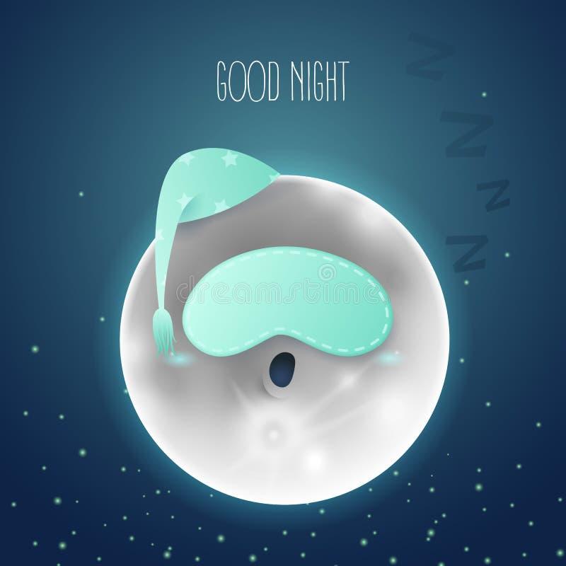 Vector cartoon illustration. A sleeping moon in the sky. Dark blue background with text Good night vector illustration